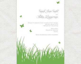 printable wedding invitation - spring grass - summer butterflies outdoor garden green baby shower invite birthday invitation nature diy rsvp