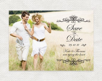 classic scroll photo save the date - printable file