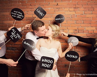 24 photo booth prop signs - printable file - chalkboard speech bubbles