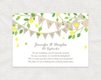 spring floral wedding save the date - diy printable - garden fete, bunting outdoors banner flowers, garden wedding, english country wedding