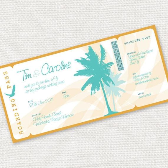 beach wedding invitation boarding pass ticket style invite for destination wedding - printable DIY - summer tropical palm trees travel sea
