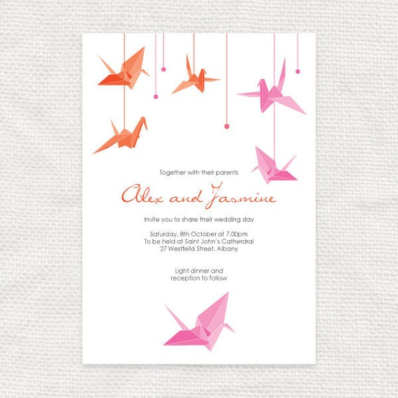 Paper Crane Printable Wedding Invitation Origami Bird