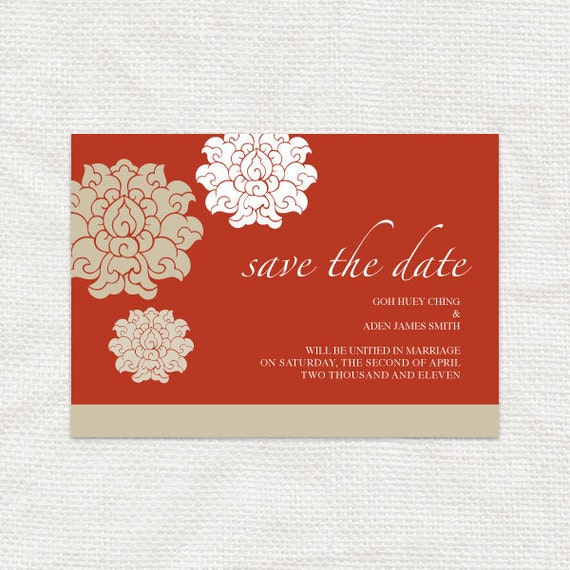 chinese asian style wedding save the date - DIY printable - customised red gold chrysanthemum flower design 婚禮喜帖 destination wedding floral