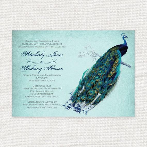 Vintage peacock wedding invitation printable diy wedding for Peacock wedding invitations with photo