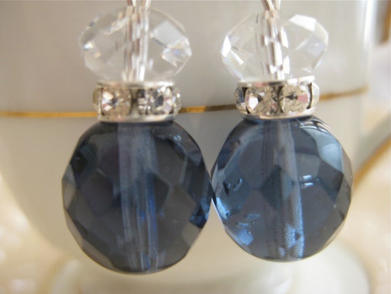 Midnight Blue and Crystal Earrings