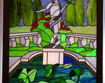 Stained Glass Panel 22x28-in. Framed, Statue in the Garden
