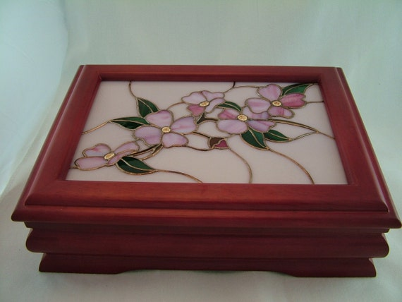 Stained Glass, Dogwood Design, Hand-Made Stained Glass Inset, Rosewood Box