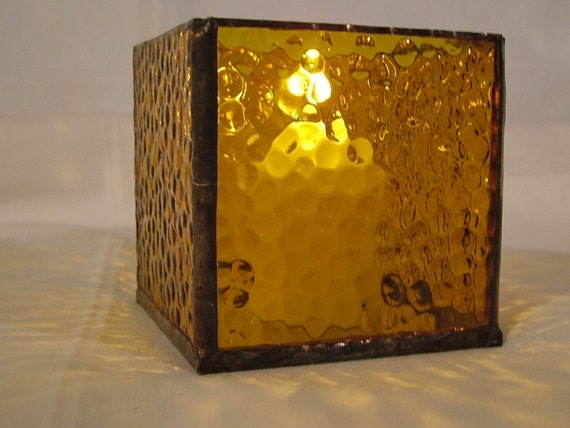 Votive Candleholder, Stained Glass, Amber, 3 x 3 in. with Mirrored Bottom