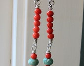 Antique Coral Southwest Turquoise Dangle Earrings