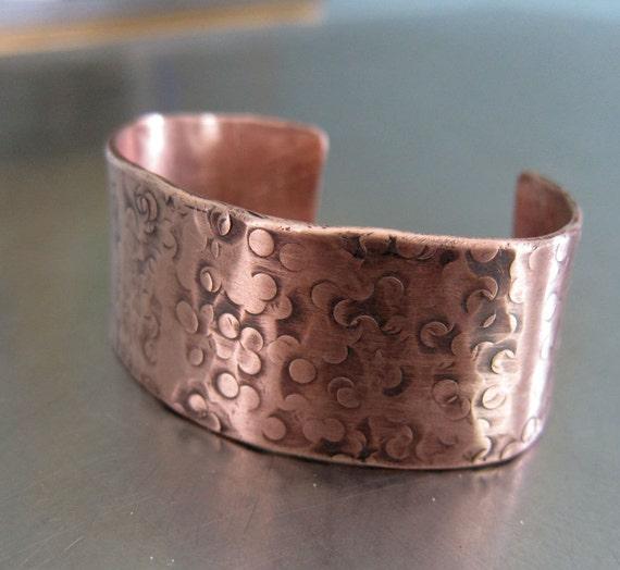 Copper Cuff Bracelet Hand Textured Organic Unisex