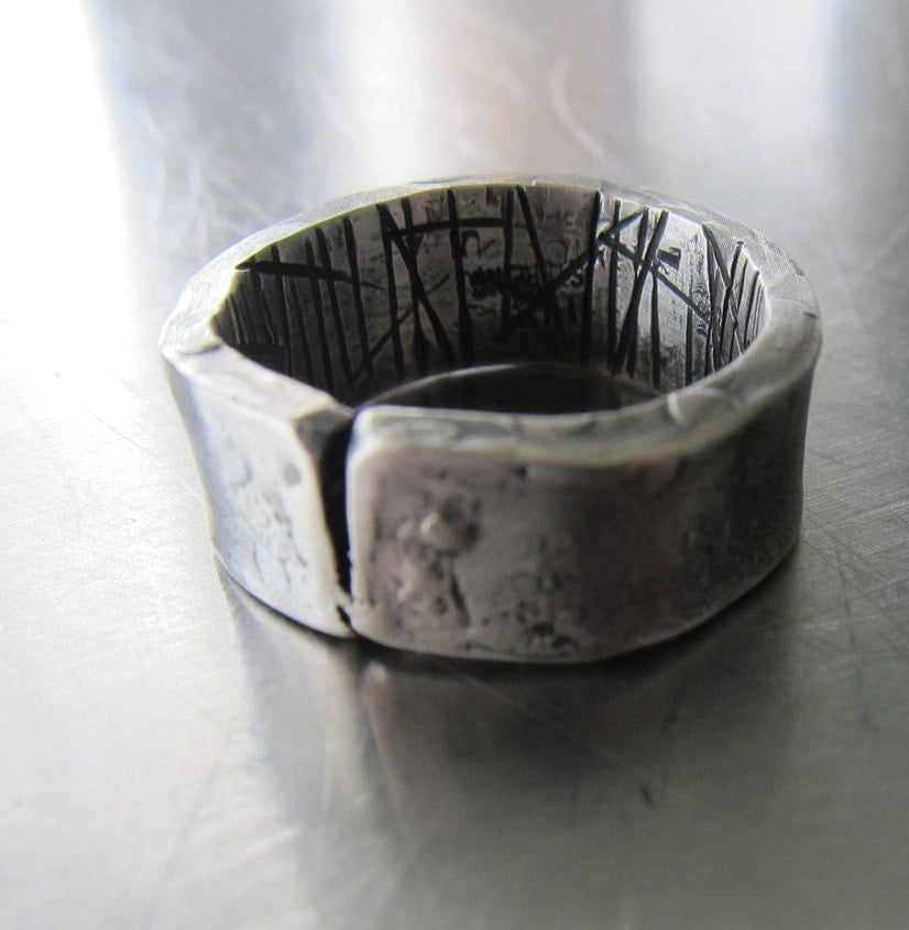 heavy textured sterling silver ring for cracked at