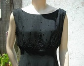 1950's-60's black wiggle dress -sleeveless, elegant, evening wear, wiggle dress w/beadwork - size M