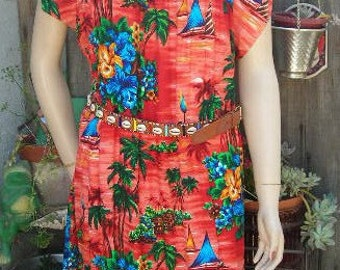 1950's-60's orange floral rayon Hawaiian muumuu - size M-L
