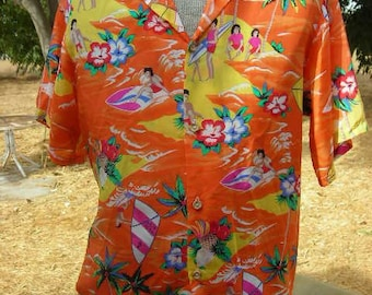 1970's Op Hawaiin, Surfer, Tropical Rayon Shirt - Size M