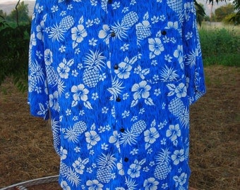 Blue/White Rayon Pineapple/Hibiscus Print Hawaiian Shirt - Size M-L