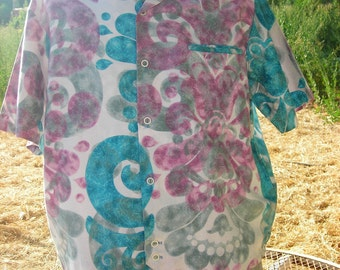 1950's-60's Purple/Turqoise Hawaiian Shirt-Jac - Abstract Print  - Size L