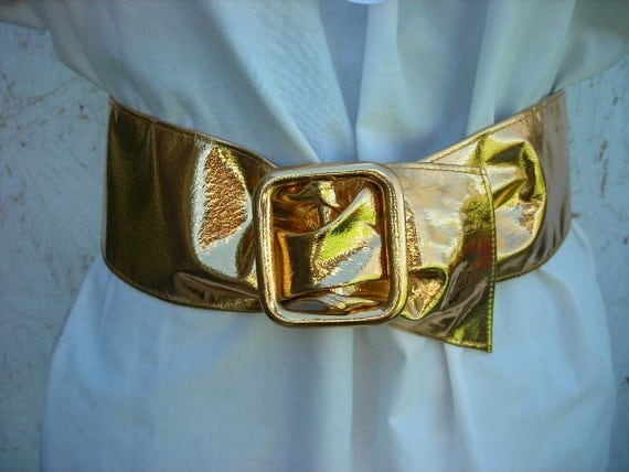 wide gold lame belt size m