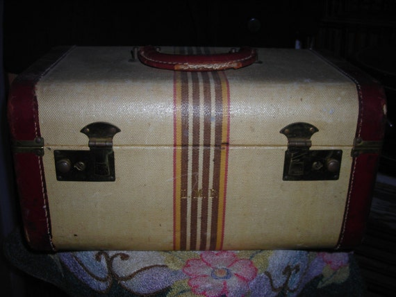 1940's Overnight/Train Case - Tan w/Stripes and Leather Binding
