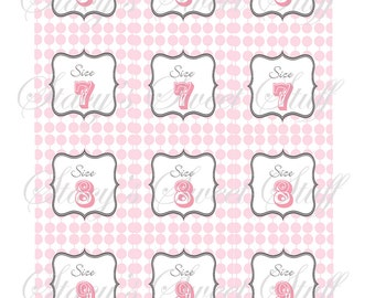 Wedding Flip Flop Size Tags, CUSTOM,  DIY Printable,