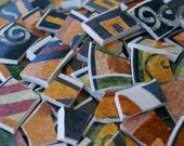 Mosaic Tiles Warm Colors Geometric Swirl  Design Handcut