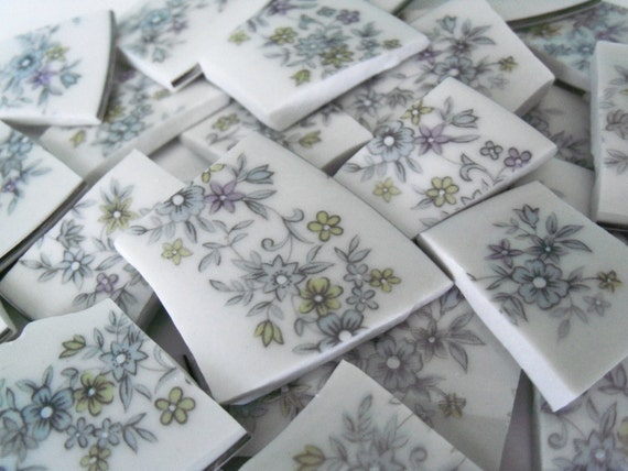 Floral Mosaic Tiles Handcut Broken China Plate