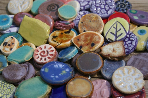 Assorted Mix Mosaic Tiles Pottery Handmade Tile Nuggets Cabs for Mosaics or Jewelry T706