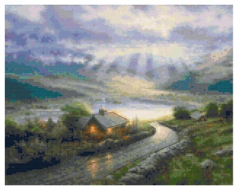 Emerald Island Original cross stitch pattern based on a painting by Thomas Kincaid