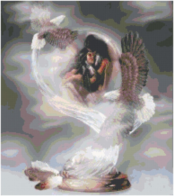 Counted Cross Stitch Original Native American Pattern - Love in the Clouds