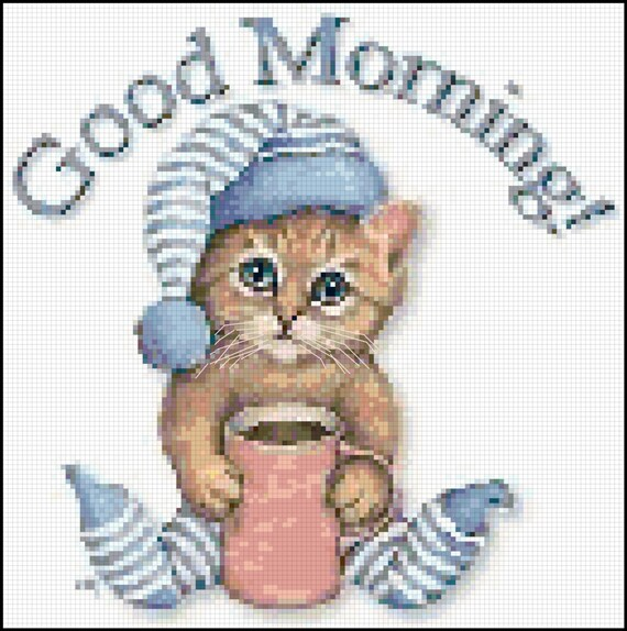Counted Cross Stitch Pattern Cute Kitten With Coffee