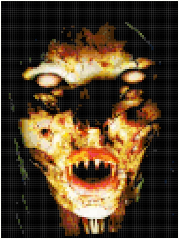 Items similar to Scary Face Original Cross Stitch Pattern ... Creepy Pictures