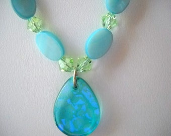 ON SALE! Necklace with Dichroic Glass Pendant, Swarovski Crystals and Aqua Shell Beads and Earrings