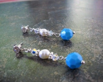 ON SALE  Turquoise and Sterling Silver Earrings made with Swarovski Crystals