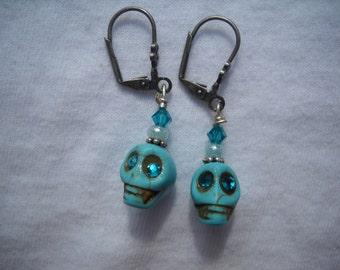 Handmade with Swarovski Blue Zircon Crystal Eyed Turquoise Skull Earrings