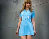 powder blue mini mod dress- xs