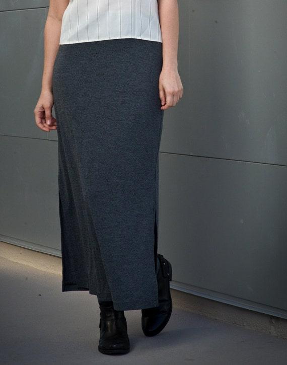 charcoal grey maxi skirt s