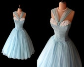 Reserved for Maddy-Vintage 1950's 50's Aqua Blue Chiffon Shelf Bust Strapless Party Prom Cocktail Dress S