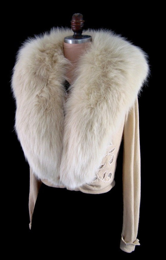 Vintage 1950s Cream Cashmere Bombshell Fox Fur Collar Cardigan Sweater with Rhinestones and Openwork Details L\/XL