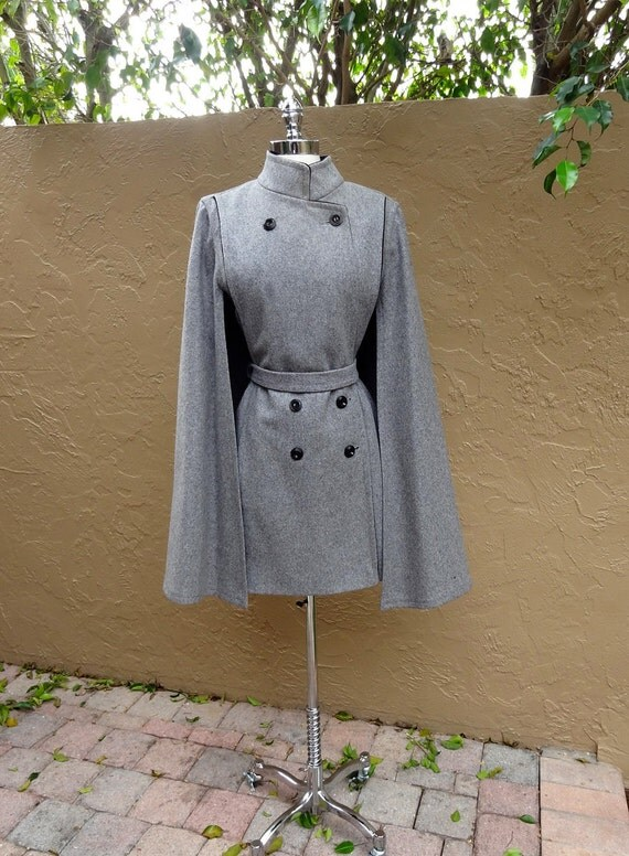 RESERVED -Vintage 1960's 60's Gray Mod Military Wool Cape Dress Coat
