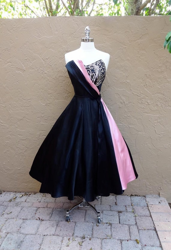 Reserved for Annalies-Vintage 1950's 50's Emma Domb Sequined Black Pink Satin Cocktail Party Prom Dress M