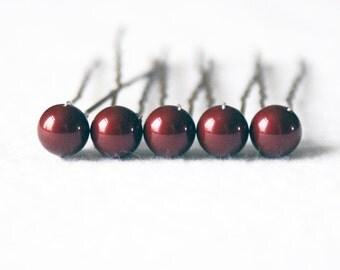 Dark Red / Bordeaux Pearl Hair Pins. Set of 5, 8mm Swarovski Crystal Pearls. Bridal Hair Accessories.
