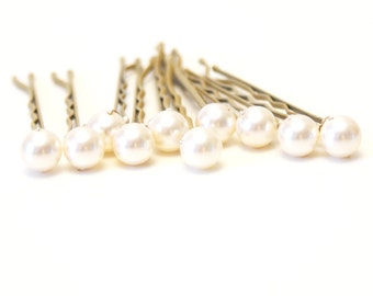 Ivory Pearl Wedding Hair Pins. Set of 10, Blonde Bobby Pins. 8mm Swarovski Crystal Pearls. Bridal Hair Accessories. Wedding Hair Accessories