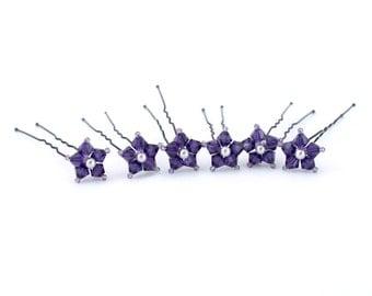 Purple Flower Swarovski Crystal Hair Pins. Set of 6.