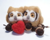 Needle felted Valentine Owl Birds - Pair of Owls Needle Felting Soft Sculpture by Bella McBride