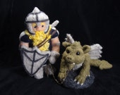 Needle Felted Dragon and Knight  Soft Sculpture by Bella McBride - Friend or Foe... Who knows...