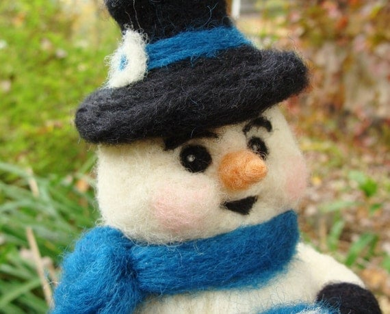 Sale, Sale, Sale......Needle Felted Snowman Wool Soft Sculpture - Snowball the Snowman by McBrideHouse