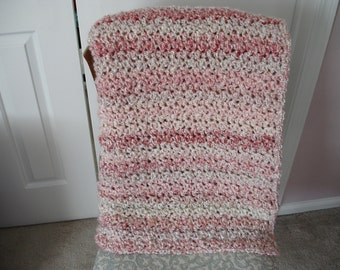 Coral/Off-White Afghan Throw Blanket