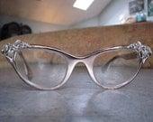Vintage 1950s Glasses...TURA Designer Silver Cat Eye Leaves and Vines ROCKABILLY - VLV