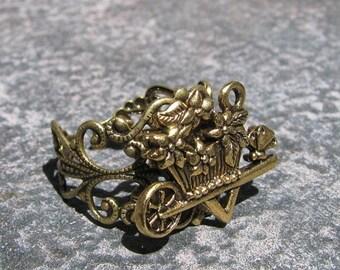 Charming Secret Garden Wheel Barrow Ring by Lauri Jon STARDUST STEAMPUNK(TM)