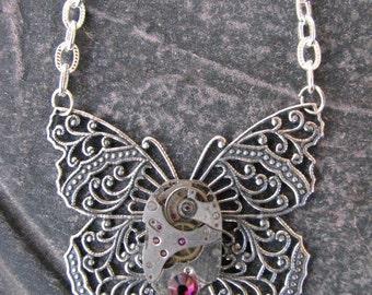 Steampunk Silver Victorian Filigree Butterfly Necklace by Lauri Jon Stardust Steampunk(TM)