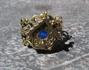 Trendsetting Decorative Filagree Birdhouse Ring Sapphire Swarovski Crystal by Lauri Jon STARDUST STEAMPUNK(TM)